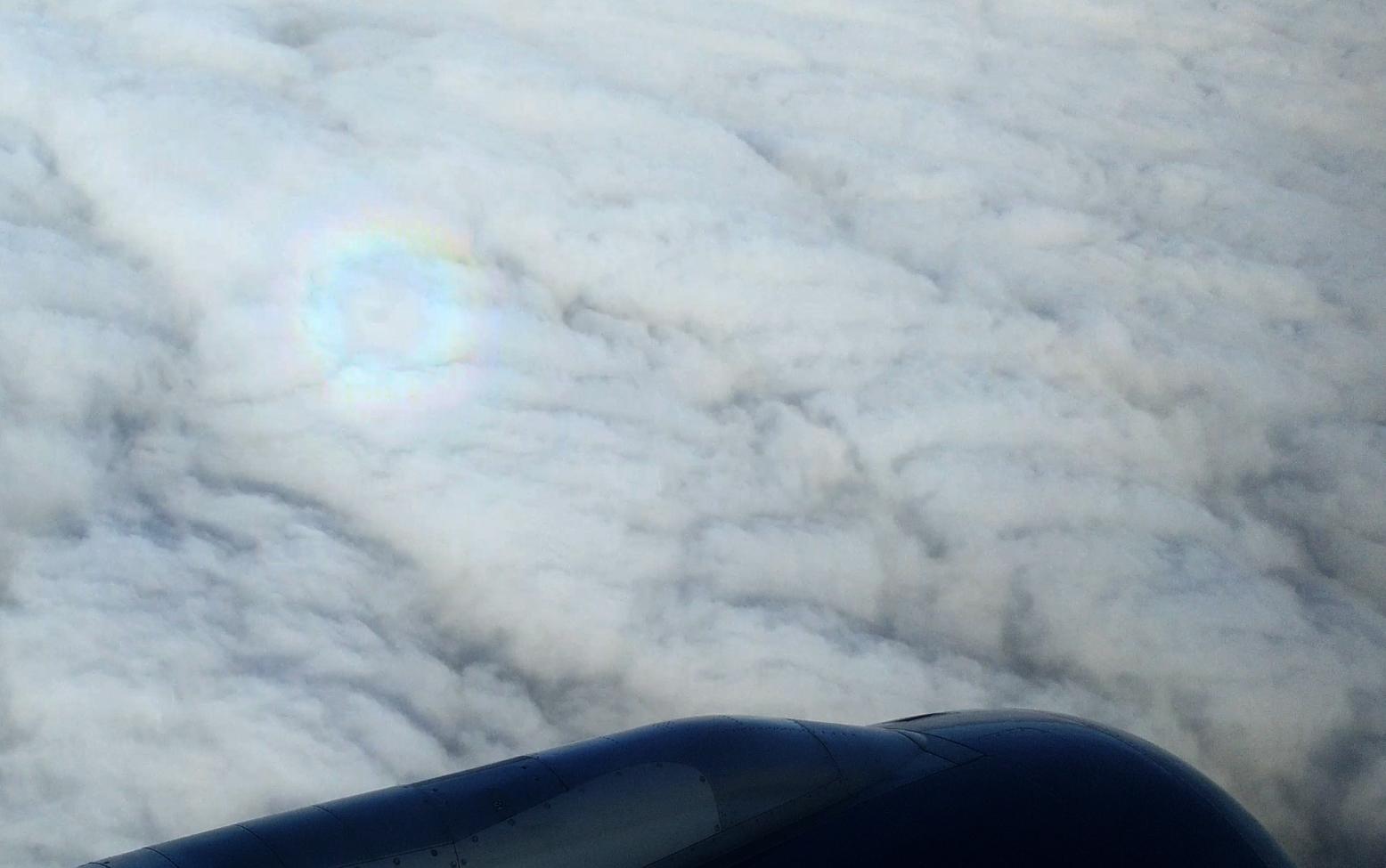 Der regenbogenfarbene Ring ist im linken oberen Teil des Fotos zu sehen. Um sie deutlicher hervorzuheben wurde die Sättigung etwas erhöht.