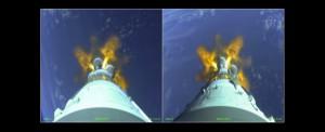 Start einer Soyuz Rakete welche den Sentinel-1A Satelliten in den Orbit brachte aus Sicht der Rakete.