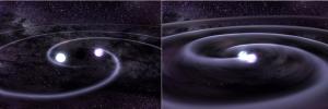 Zwei massive Objekte umkreisen einander - eine Voraussetzung für mit heutiger Technik detektierbare Gravitationswellen Dana Berry [Public domain], via Wikimedia Commons (Quelle)