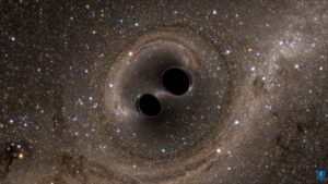 Verschmelzung zweier schwarzer Löcher, Quelle: SXS, the Simulating eXtreme Spacetimes (SXS) project (http://www.black-holes.org)
